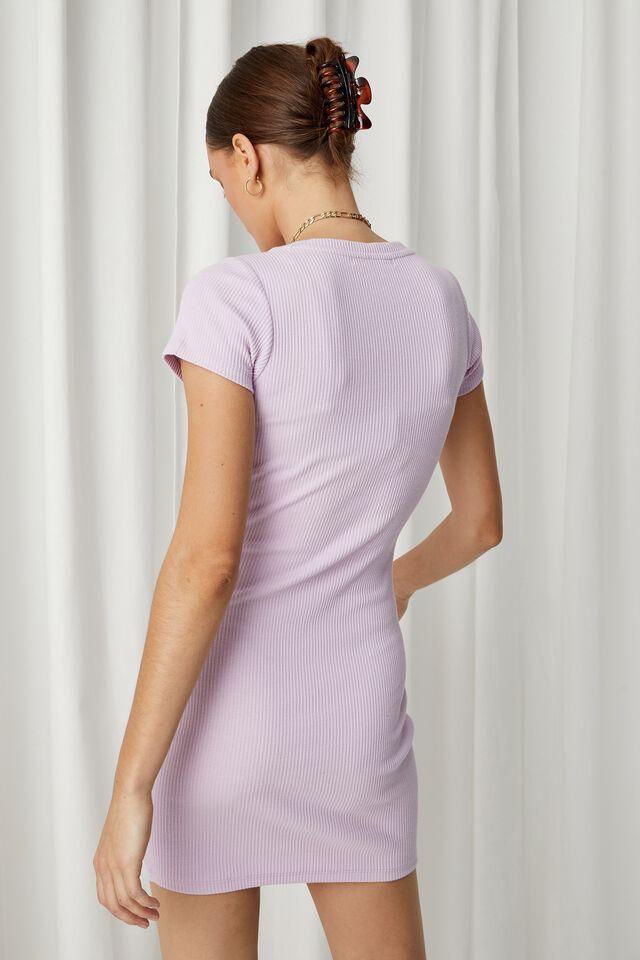 Lucia Rib Tee Mini Dress, LILAC BLUSH