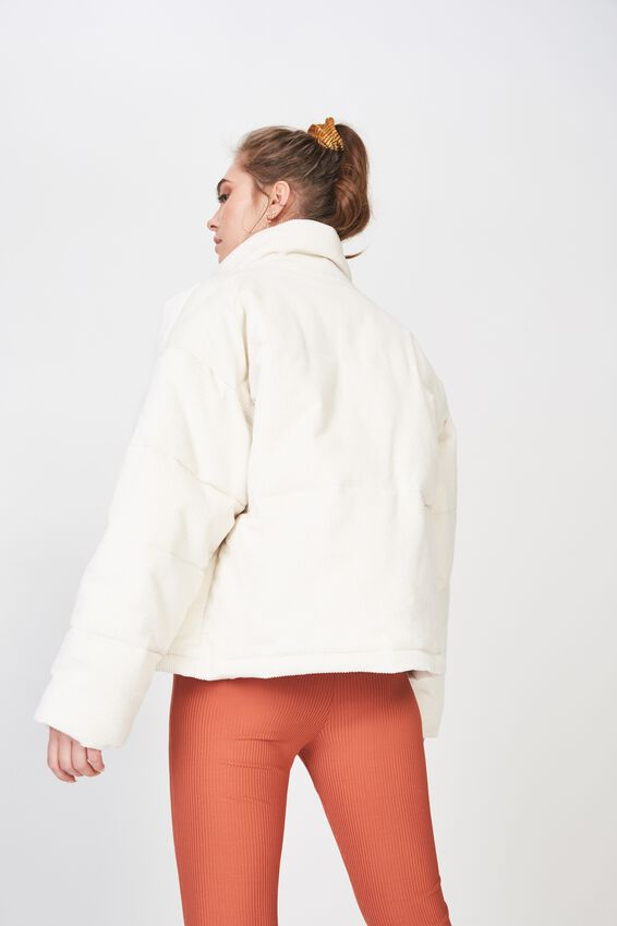 Dawn Cord Zip Up Puffer Jacket, CREAM PUFF