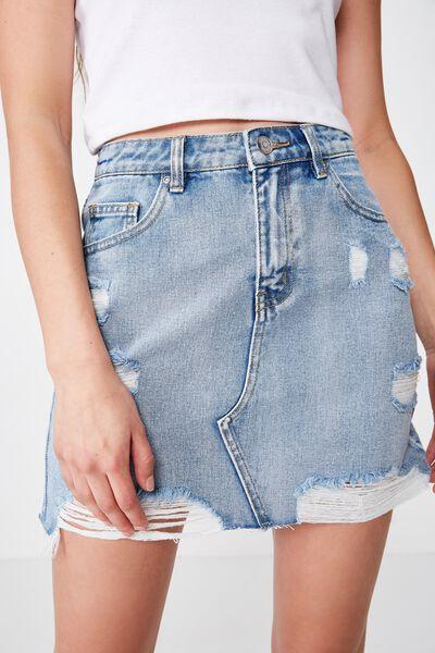 Winona Ultra Destroy Denim Skirt, SURFY BLUE RIPPED