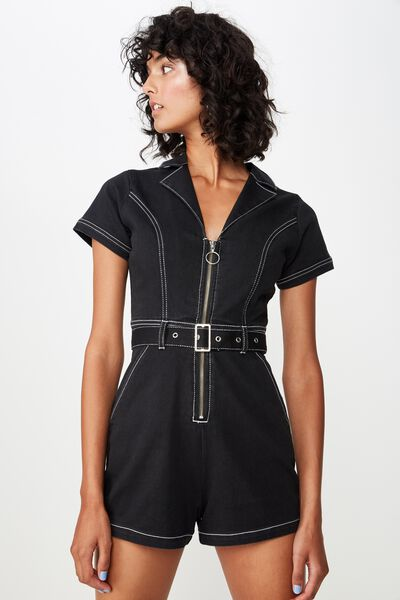 Contrast Stitch Playsuit, BLACK