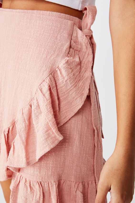 Georgie Frill Wrap Mini Skirt, DUSK PINK