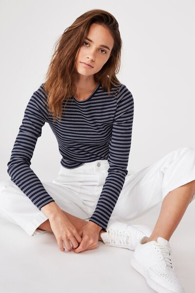 Ash Long Sleeve Rib Top, SMALL DOUBLE STRIPE (MDNIGHT NVY/WHT)