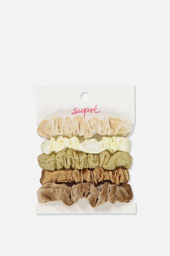 Hair Tie Scrunchie Pack, NEUTRAL