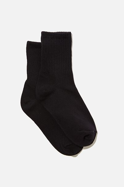 Ribbed Socks, BLACK