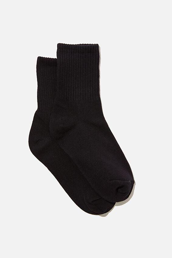 Ribbed Socks, BLACK