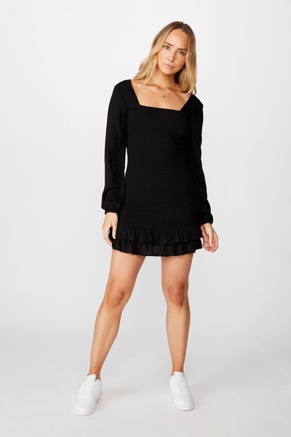 Isla Frill Hem Shirred Dress, BLACK