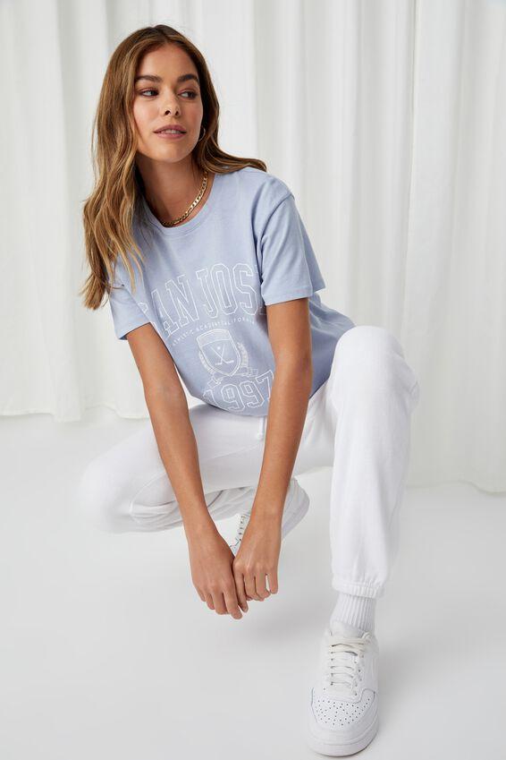 Lola Printed Longline T Shirt, HAZEY BLUE/SAN JOSE 1997