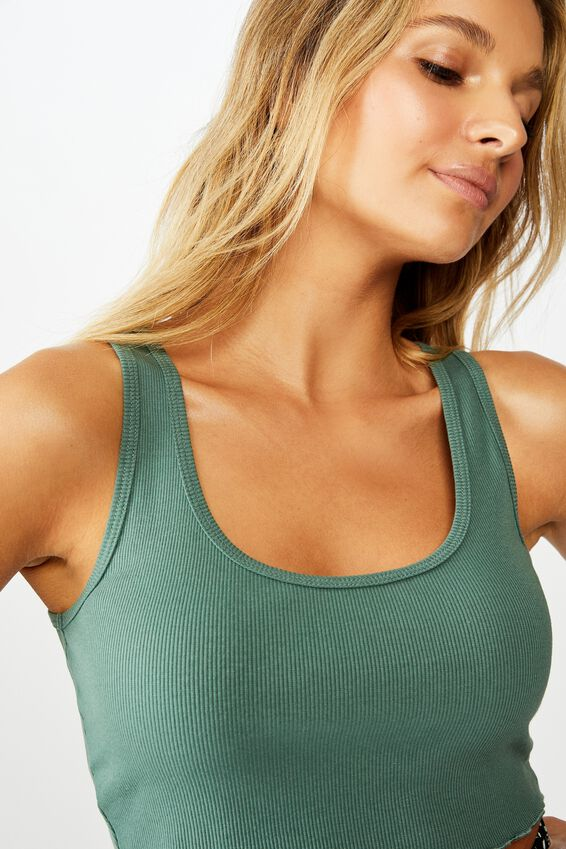 Kali Fitted Crop Tank, FROSTED PINE GREEN
