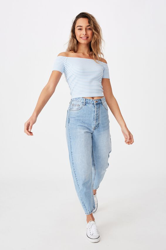 Maryanne Off The Shoulder Top, TIA STRIPE/BLUE BELL/WHITE