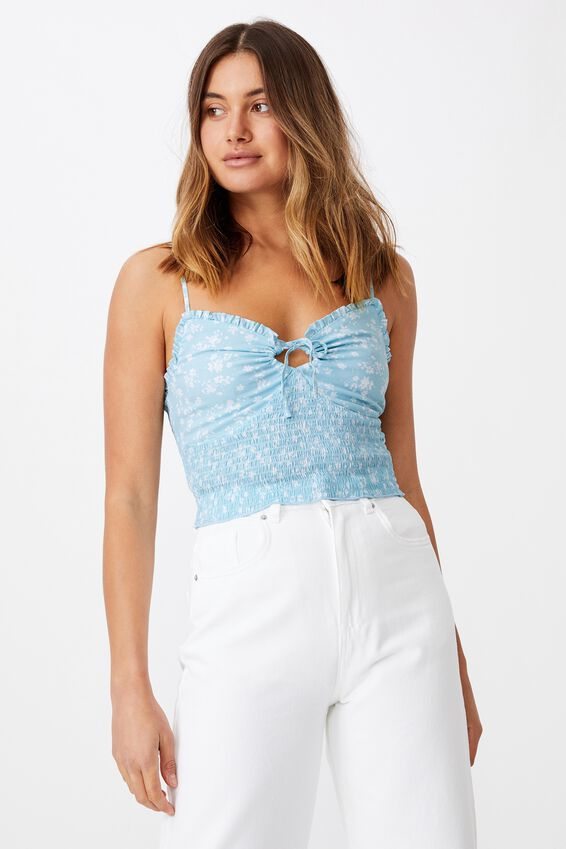 Megan Shirred Cami, ROMY FLORAL REEF BLUE