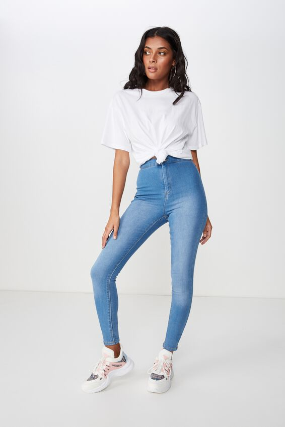 Long Super Skinny Sky High Jean, LUNAR BLUE