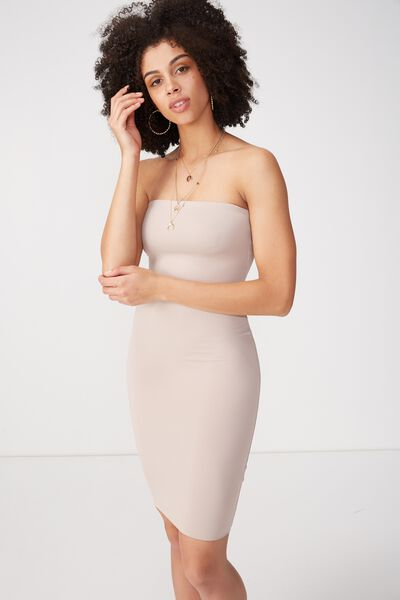 Party Strapless Midi Dress, NATURAL