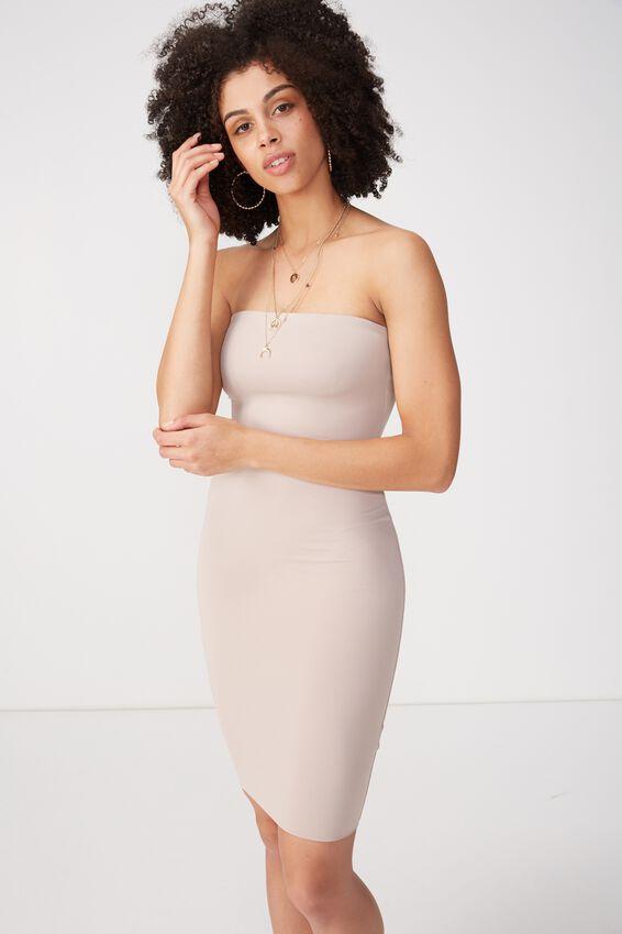 Party Strapless Midi Dress, NATURAL