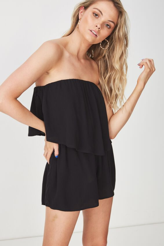 Frill Layer Strapless Playsuit, BLACK