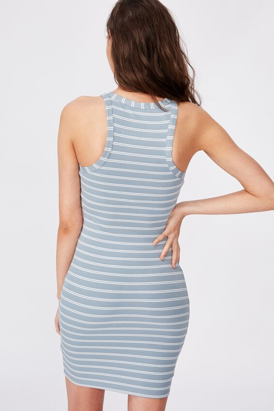 Reese Tank Rib Mini Dress, DOUBLE STRIPE (JEAN BLUE/WHT)