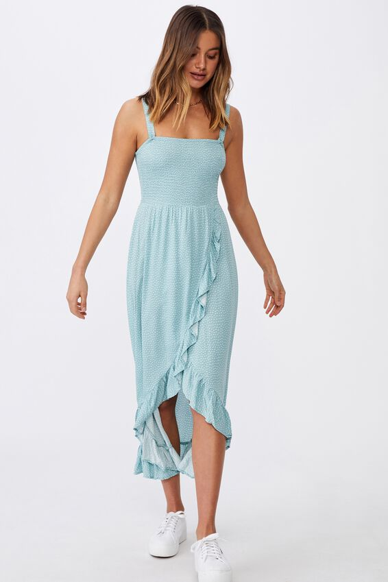 Allegra Maxi Wrap Dress, SHADOW SPOT SAGE
