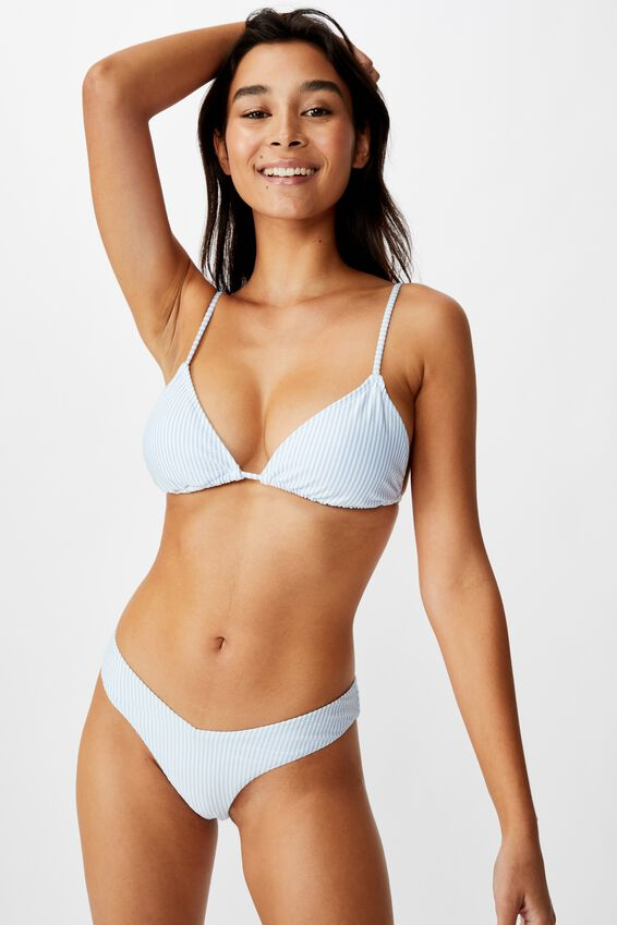 Byron V Front Bikini Bottom, COLLEGIATE STRIPE BLUE SEERSUCKER