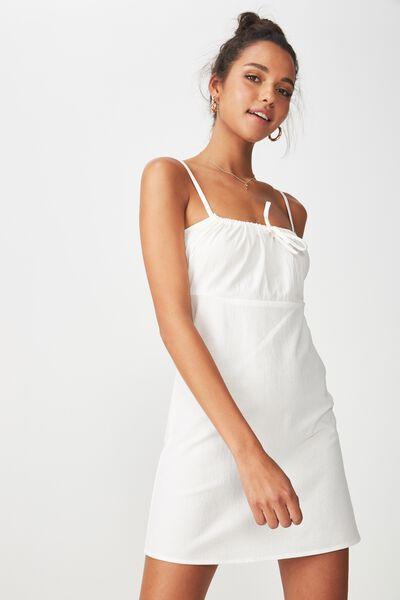 Strappy Gathered Neck Dress, WHITE