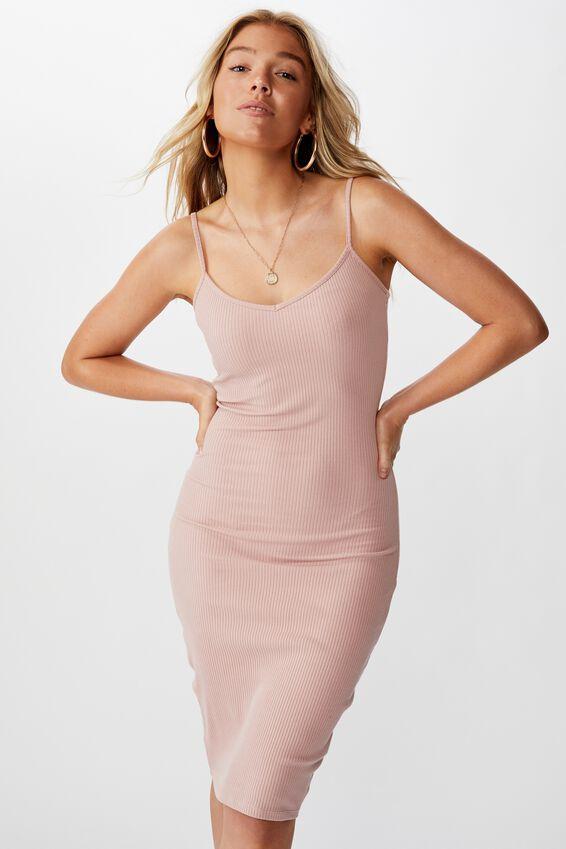 Serena V Neck Midi Dress, PINK TOAST