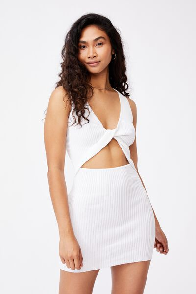 Pearl Reversible Mini Dress, WHITE