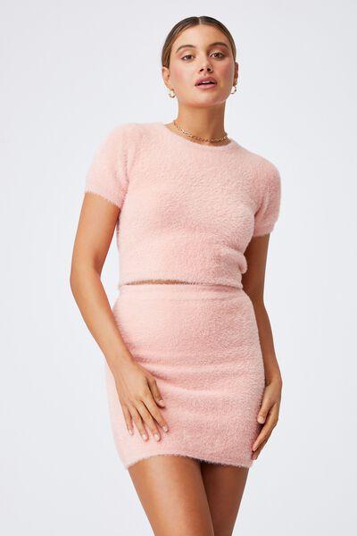 Melissa Fluffy Skirt Co Ord, PEACHY ROSE