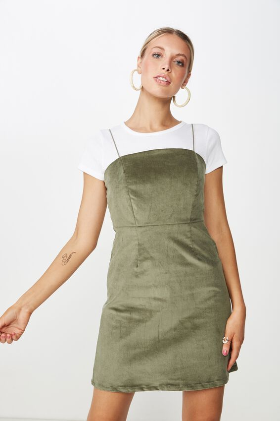 Cord Fitted Dress, MOSS KHAKI