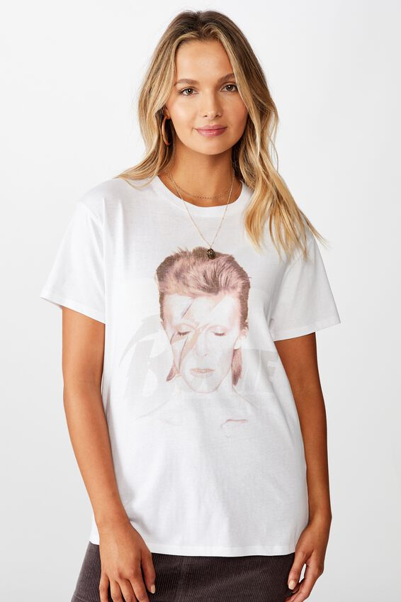 Kendall Printed T Shirt, WHITE LCN PER BOWIE PORTRAIT