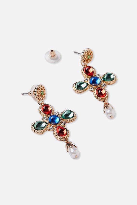 Multi Coloured Cross Earrings | Tuggl