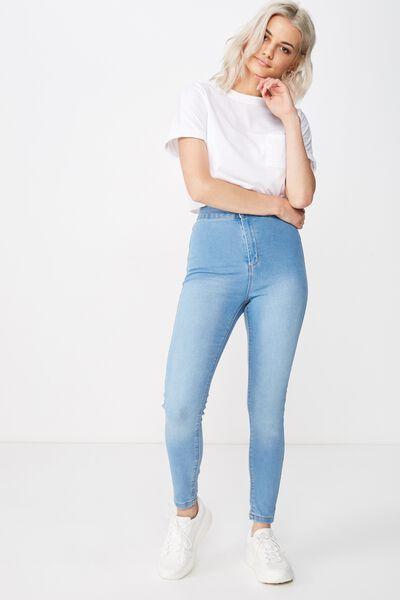 Short Leg Super Skinny Sky High Jean, WAVE BLUE