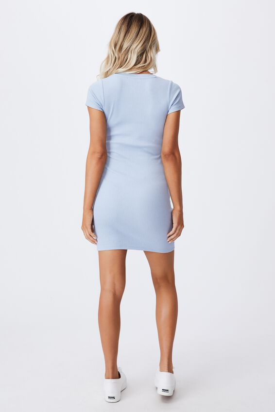 Lucia Rib Tee Mini Dress, HAZY BLUE