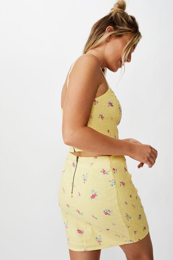 Naomi Shirred Side Skirt, SUNSHINE YELLOW FLORAL