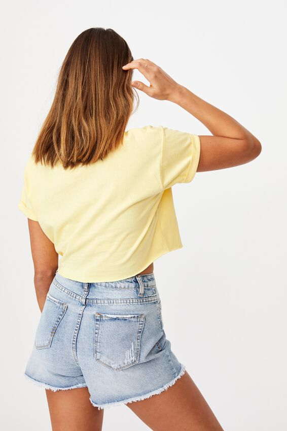 Tamara Printed Crop T Shirt, BANANA YELLOW/NEWPORT