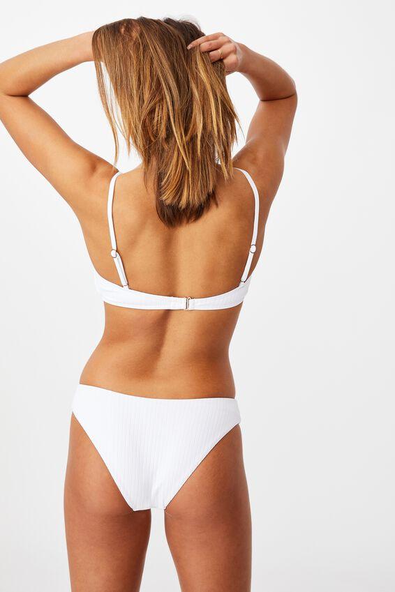 Orange County Full Bikini Bottom, WHITE/ WIDE RIB