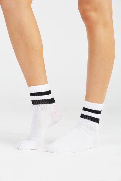 90S Sporty Crew Socks, BLACK/WHITE STRIPE