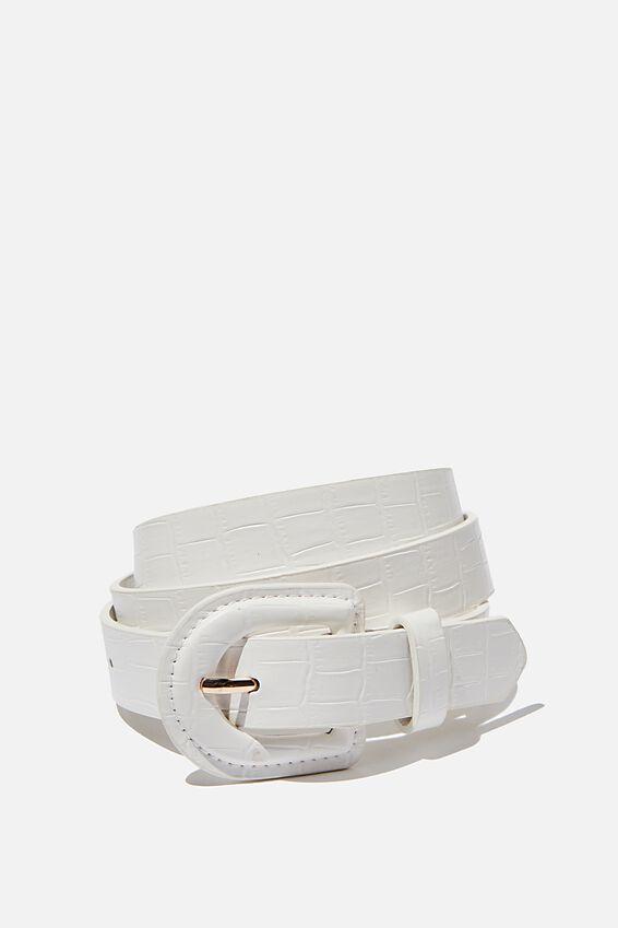 Mini Faux Croc Belt, WHITE