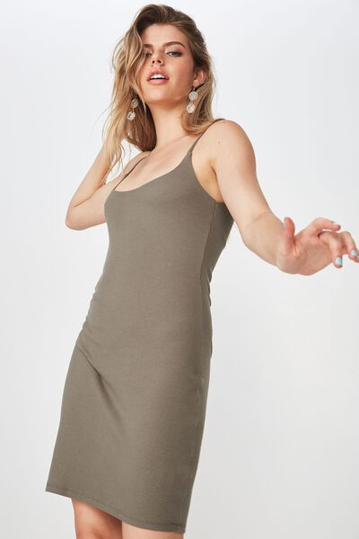 Rib Cami Dress, GUM LEAF KHAKI