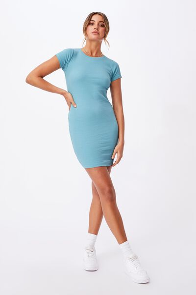 Lucia Rib Tee Mini Dress, CHALKY TEAL
