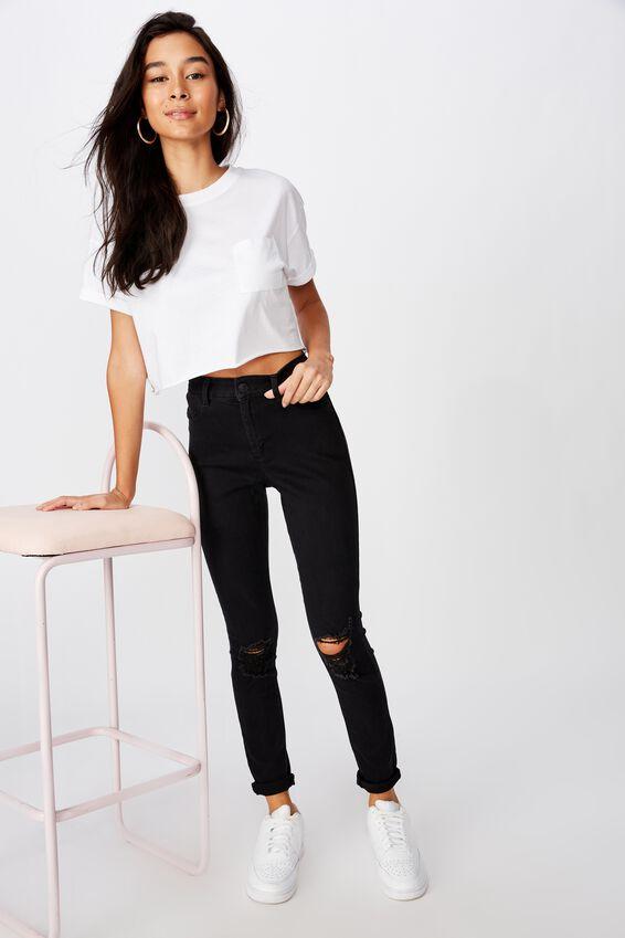 Super Skinny Ripped Jean, BLACK