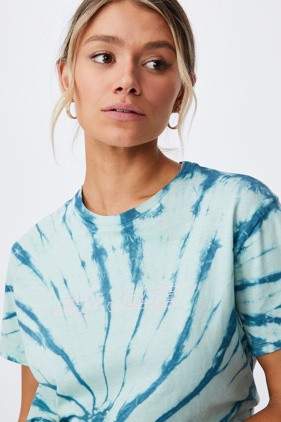 Lola Printed Longline T Shirt, SWIRL TIE DYE (ARCT TL/MNT GLOW)/SAN JOSE