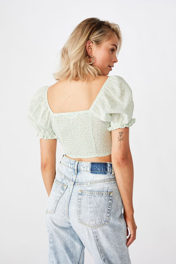 Rhea Puff Sleeve Bustier Top, MARGOT MONO FLORAL GREEN