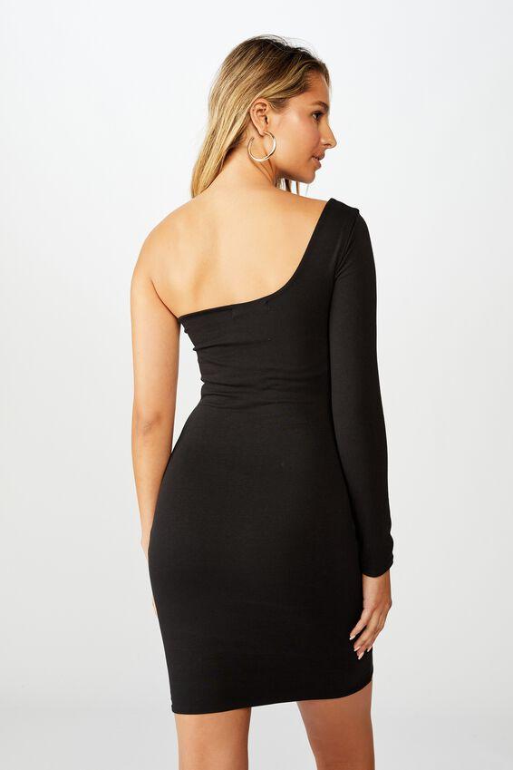 Madison One Shoulder Long Sleeve Dress, BLACK