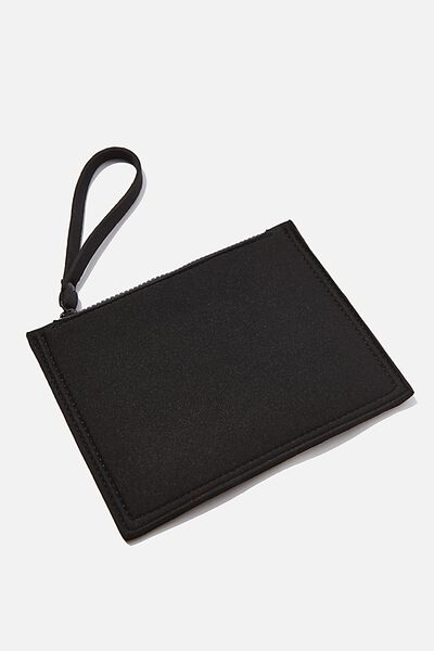 Neoprene Raw Edge Zip Purse, BLACK