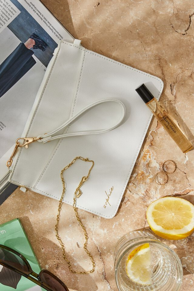 Personalised Nia Envelope Clutch, WHITE TEXTURE