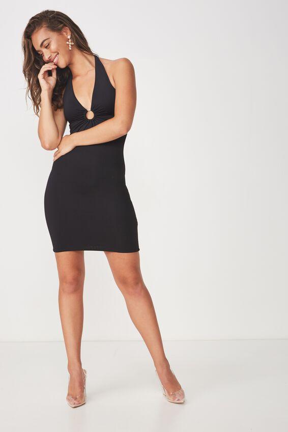 Party Ring Detail Dress, BLACK