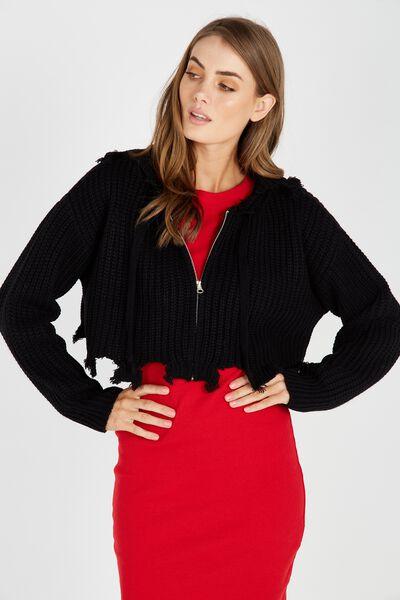 Distressed Zip Through Knit Hoodie, BLACK