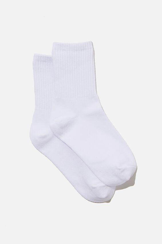 Ribbed Socks, WHITE