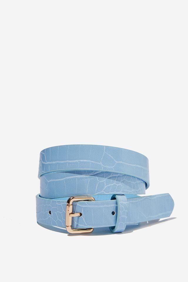 Gracie Croc Thin Belt, ISLAND BLUE CROC MATTE
