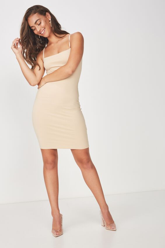 Square Neck Mini Dress, FRAPPE