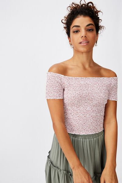 Kirsty Shirred Off The Shoulder Top, PEONY DITSY WHITE