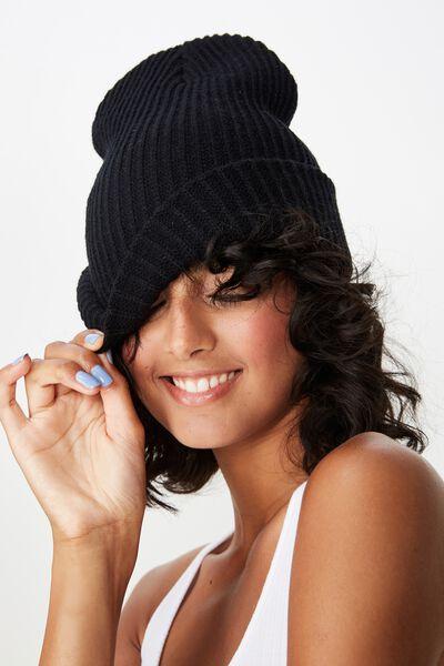 Acrylic Rib Knit Beanie, BLACK